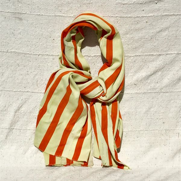 100 YEAR OLD ORANGE WHITE HAND-DYED HANDWOVEN AFRICAN KOBA CLOTH SCARF STOLE SHAWL BLANKET