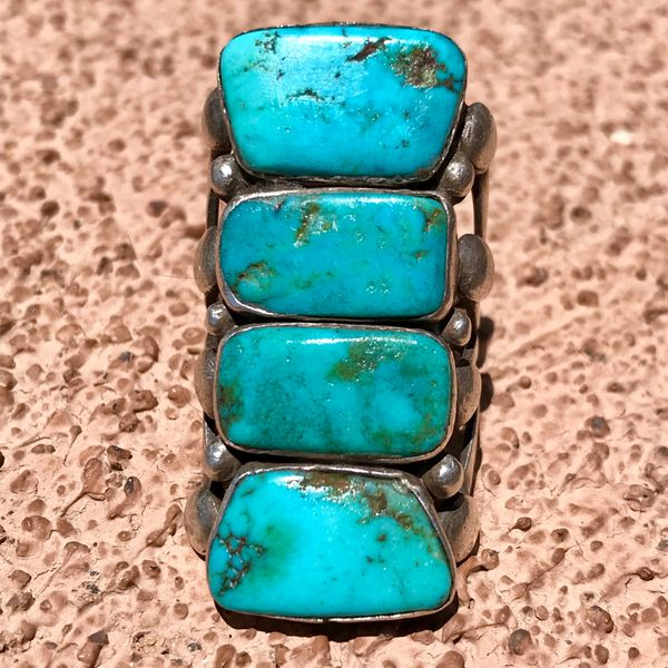 SOLD REPAIRED 4 STOPLIGHT BLUE TURQUOISE INGOT SILVER FINGER LONG RING