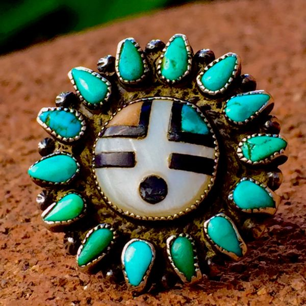 1940s AMERICAN SUN FACE TURQUOISE INLAY PINKY RING