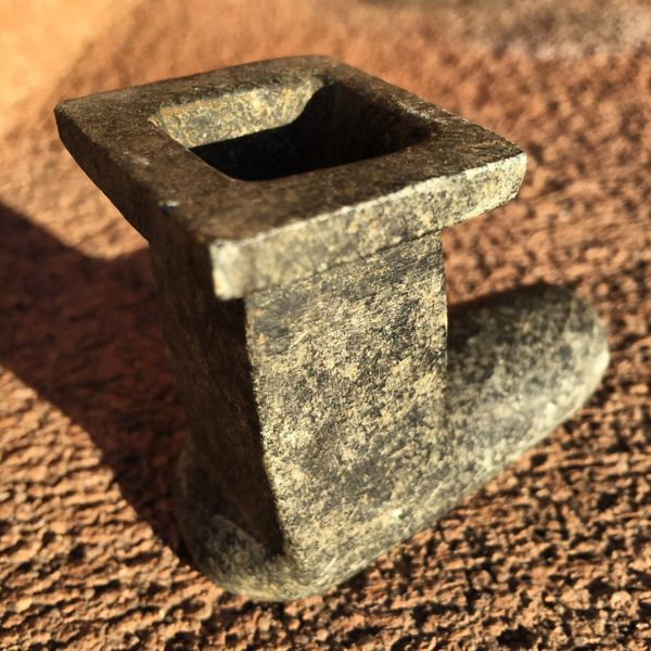 SOLD 1800s SQUARE INNER BOWL STONE PEACE PIPE