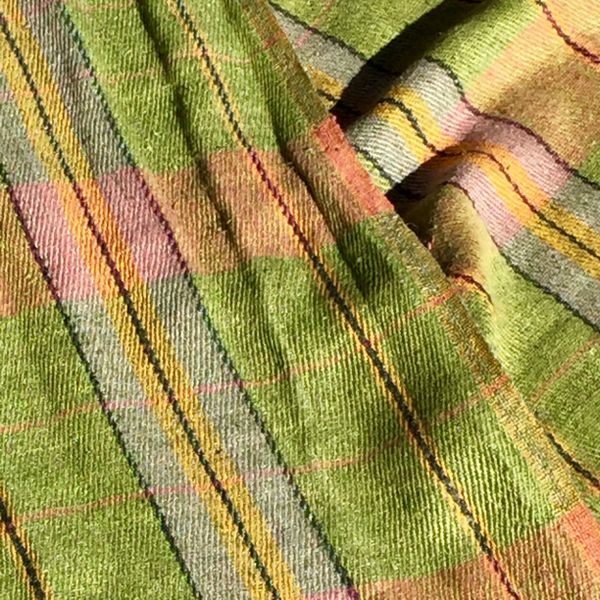 OLIVE TARTAN PLAID RUSSIAN WOVEN LINEN SCARF