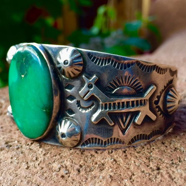 SOLD 1930s MINT CONDITION HUGE HORSE & PEYOTE BUTTON APPLIQUÉ FRED HARVEY ERA WIDE SILVER STAMPED CUFF