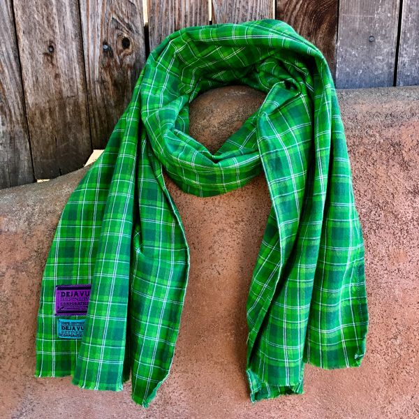 SOLD WIDE GREEN PLAID SCARF