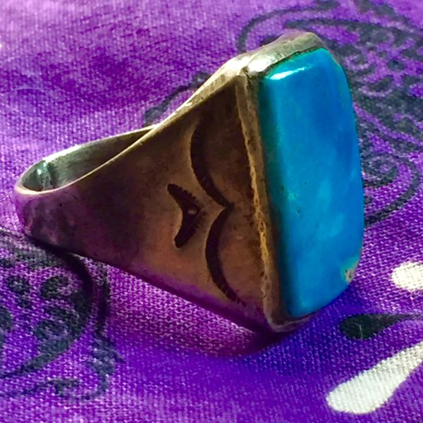 SOLD 1930S HARD BLUE TURQUOISE STAMPED SILVER MENS AMERICAN RING