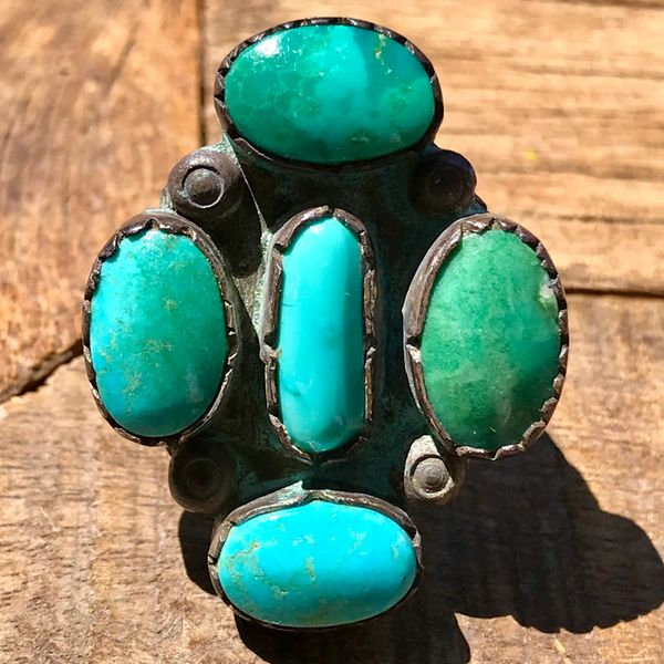SOLD 1940s HUGE 4 BLUE & GREEN STONE TURQUOISE SILVER RING