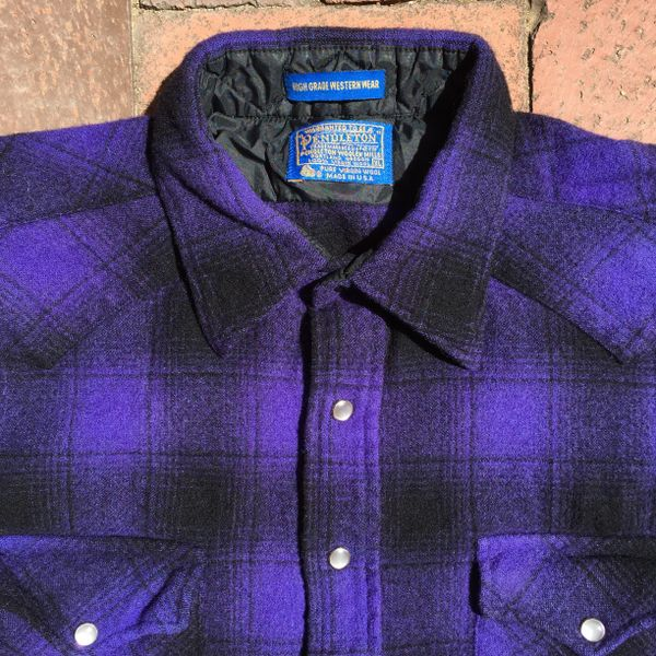 SOLD 1990s GRUNGE ROCKER PENDLETON PURPLE SHADOW BOX TARTAN PLAID PEARL SNAP WESTERN WOOL SHIRT