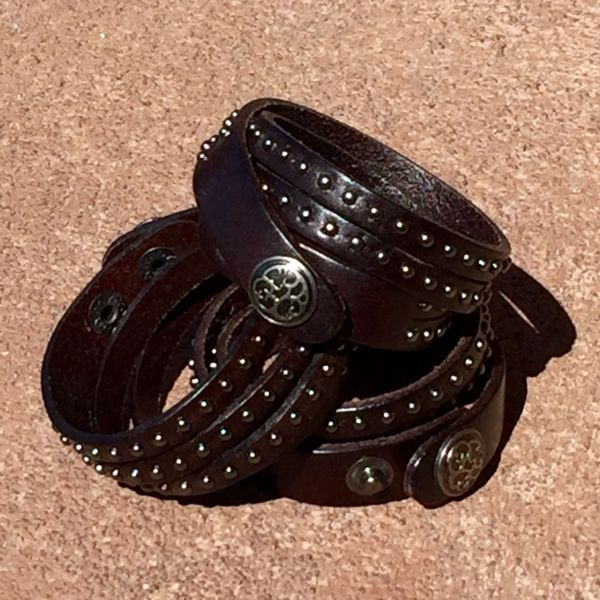 BROWN LEATHER 4 STRAP TINY METAL STUDDED BRACELET CUFF