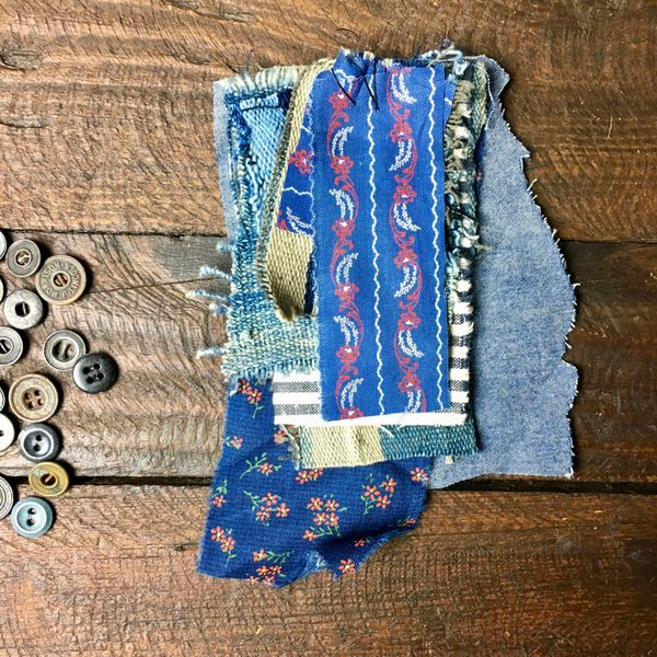 #12 MOSTLY 100 YEAR OLD WORKWEAR METAL BUTTONS AND INDIGO TEXTILE PATCHES