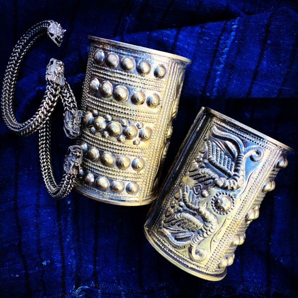 SOLD MAO TRIBAL PEOPLE FLEXIBLE DRAGON CHAINMAILE CUFF BRACELET SET