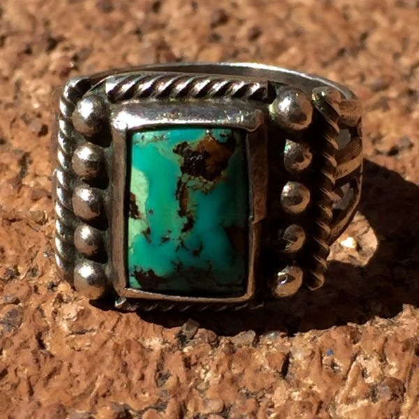 SOLD 1920s SPLIT SHANK SILVER SMALL BLUE GREEN TURQUOISE RING