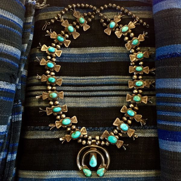 SOLD 1940s LIGHT BLUE BOX AND BOW TURQUOISE SQUASH BLOSSOM
