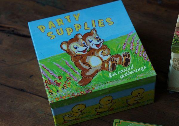 PARTY SUPPLIES SQUARE STASH BOX TIN