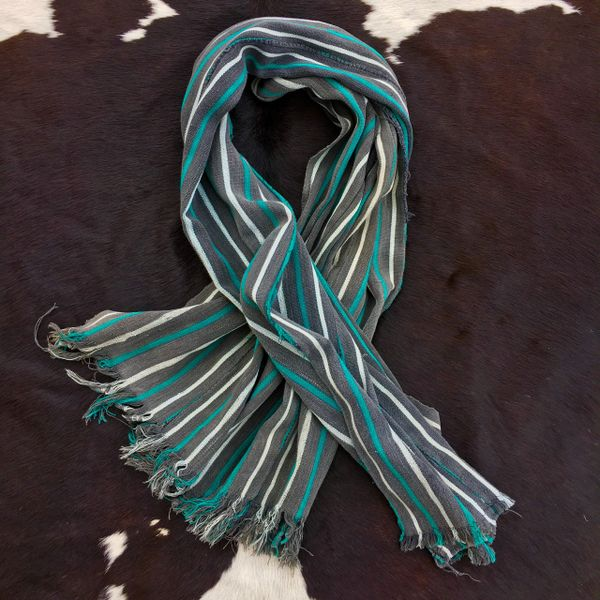 1800s STRIPED FRINGED GREY, WHITE & GREEN KOBA TRIBE IN WEST AFRICA SCARF
