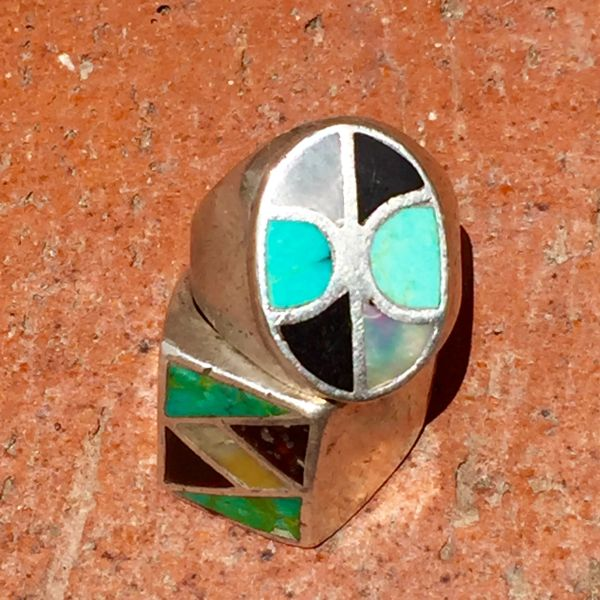 SOLD 1940's OVAL AMERICAN INLAY MOTHER of PEARL, ONYX & TURQUOISE SILVER MENS RING
