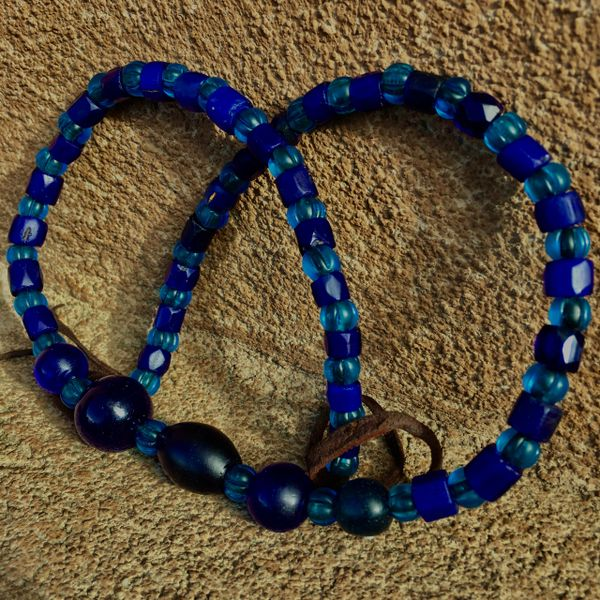 1700s - 1800s ALL AMERICAN TRADE BEADS with MANDREL WOUND COBALT, RUSSIAN BLUES, & NEON BLUE NAGALAND MELON BEADS