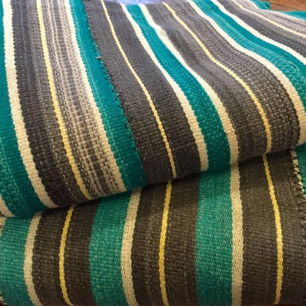 "SOLD MATCHING SET of YELLOW, GREY & GREEN STRIPED 40"" X 55"" & 42.5"" X 59"""