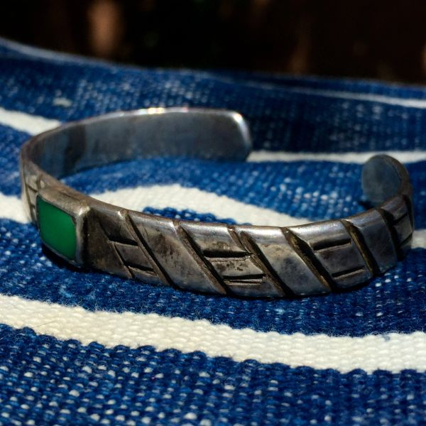 SOLD CHISELED WROUGHT INGOT SILVER NEON TURQUOISE AMERICAN BRACELET