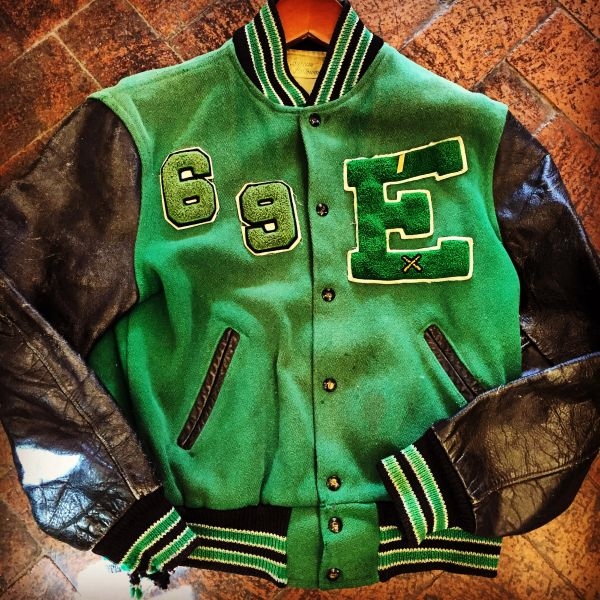 1969 GREEN WOOL & BLACK LEATHER VARSITY LETTERMAN JACKET