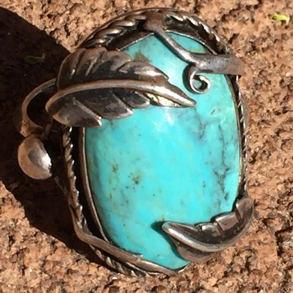 1900s SOLD ART NOVEAU EUROPEAN TURQUOISE SILVER LEAF VINE RING