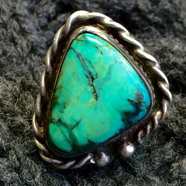 SOLD 1970s BIG TRIANGULAR TURQUOISE ROPE & RAIN DROP RING