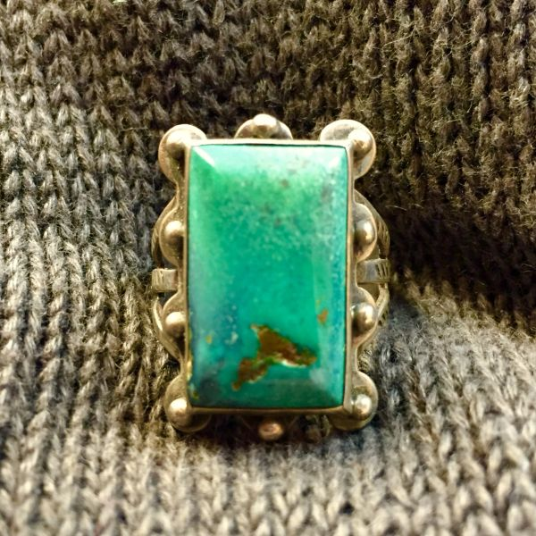 SOLD 1920s FRED HARVEY STAMPED ARROWS BLUE BIG CHISELED SILVER TURQUOISE AMERICAN RING