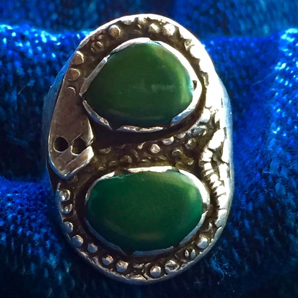 SOLD 1940s SNAKE SILVER GREEN TURQUOISE DAN SIMPLICIO RING