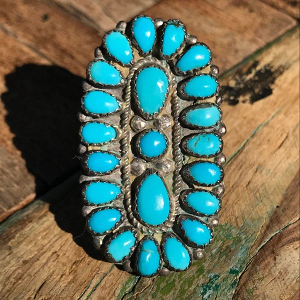 1950s BIG BLUE ZUNI TURQUOISE & SILVER RING