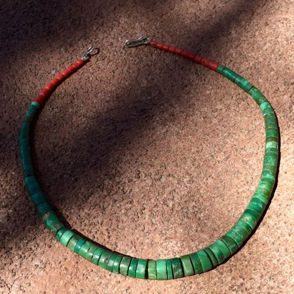 1930s SOLD GRADUATED TURQUOISE & CORAL HEISHI BEAD NEW MEXICO CHOKER NECKLACE