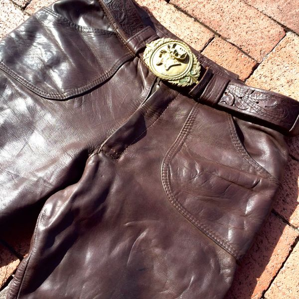 "SOLD 1960's BRITISH DARK BROWN LEATHER BELL BOTTOMS 30"" X 30"""