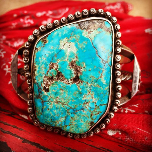 1950s SOLD ENORMOUS CARINATED STYLE SILVER TURQUOISE CUFF BRACELET