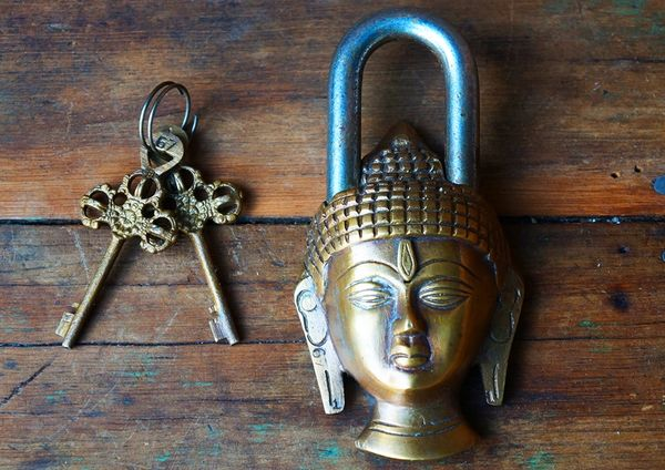BUDDHA HEAD BRASS AND STEEL PADLOCK