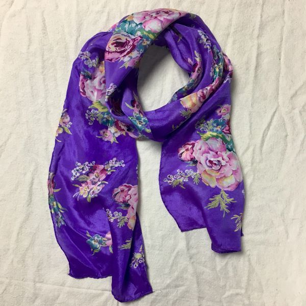 1980s SILK JAPANESE PURPLE SCARF WITH PINK ROSES