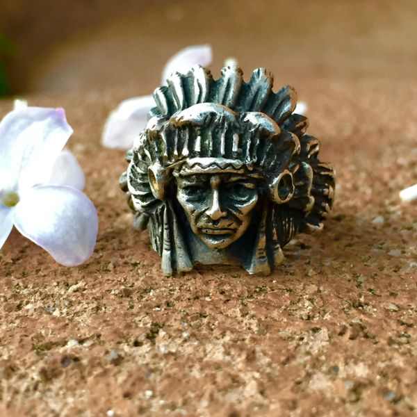 SOLD 1930s INDIAN CHIEF HEAD MEN'S SILVER RING