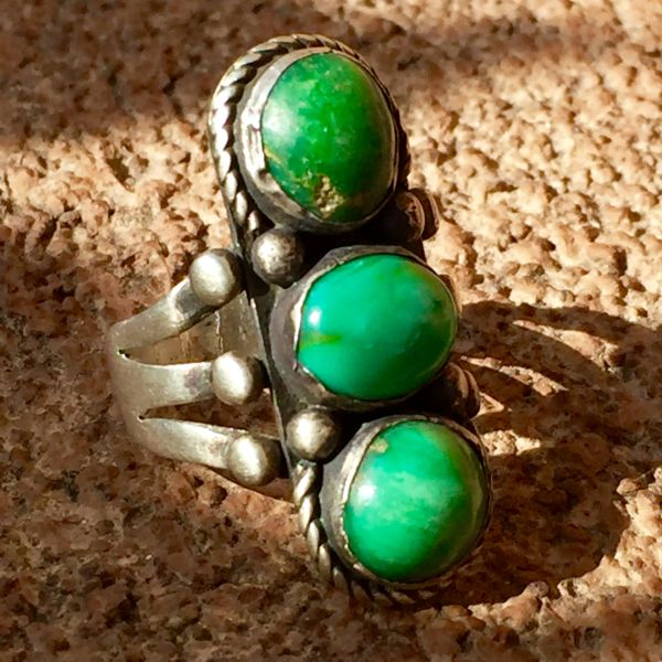 SOLD 1920s INGOT SILVER 3 TURQUOISE STONE RING
