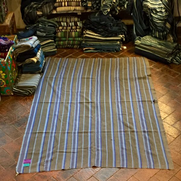 "SOLD 9 GREY & INDIGO STRIPED 59.75"" X 42"""