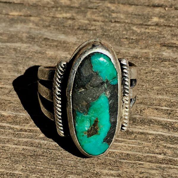 1920s CRUDE INGOT SILVER BLUE TURQUOISE RING