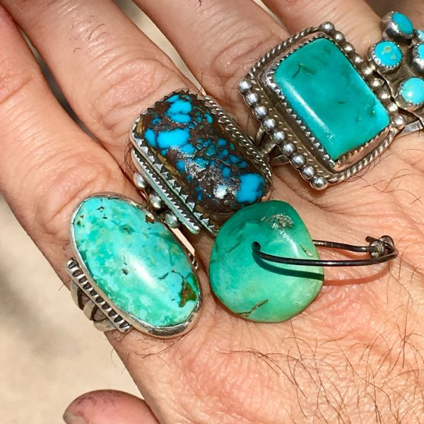 SOLD MENS SINGLE 1800S OR EARLIER GREENS TURQUOISE TAB ON ATELIER MADE STERLING EARRING #9