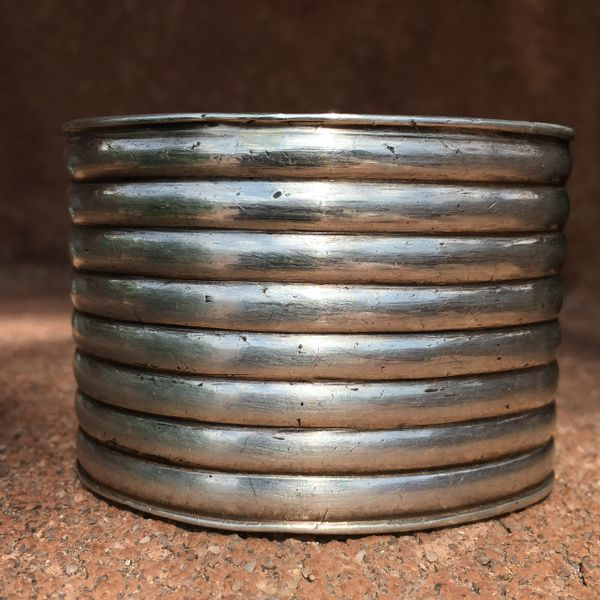 SOLD 1910s EXTRA WIDE CHISELED HANDWROUGHT SILVER INGOT EXTRA WIDE CUFF BRACELET SMALL WRIST