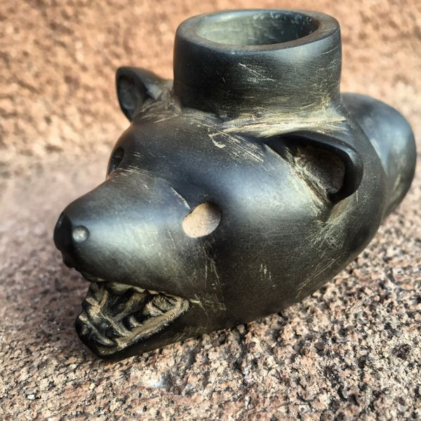 SOLD 1930s BLACK BEAR PEACE PIPE
