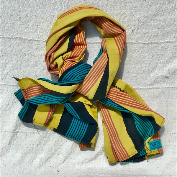 100 YEAR OLD YELLOW PINK HAND-DYED HANDWOVEN AFRICAN KOBA CLOTH SCARF STOLE SHAWL