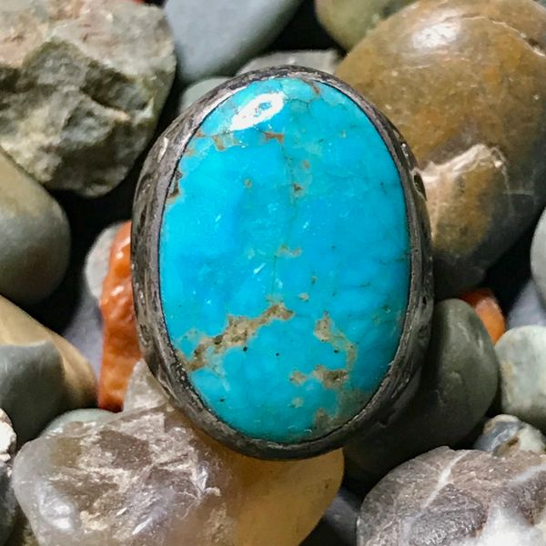 1940s BIG OVAL VIVID BLUE TURQUOISE SILVER STAMPED MENS RING