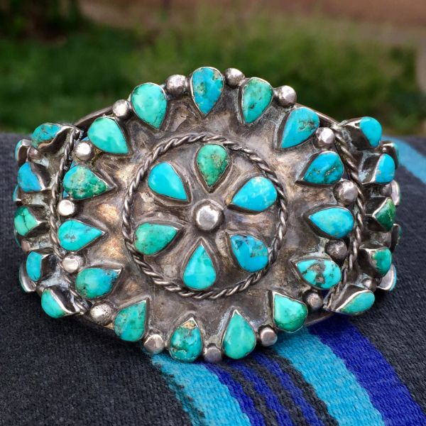 SOLD 1940s AMERICAN SILVER TURQUOISE BIG CUFF BRACELET