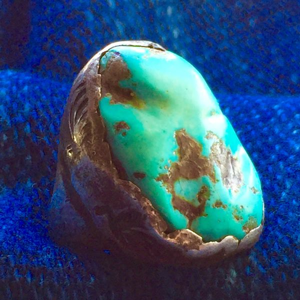 SOLD 1930s DAN SIMPLICIO TURQUOISE NUGGET SILVER LEAF FOLIATE STAMPED RING