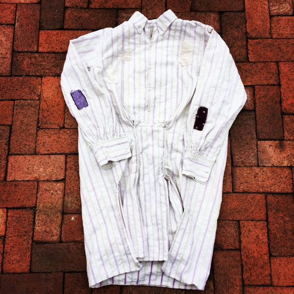 HEAVY BORO PATCH REPAIRED 1880s FRENCH GRANDAD PLEATED SHIRT