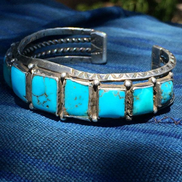 SOLD 1920s BLUE GEM QUALITY SQUARE TURQUOISE ROW CUFF DOUBLE CARINATED STAMPED INGOT SILVER HAND DRAWN WIRE MENS BRACELET