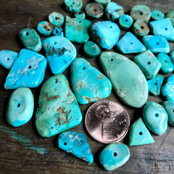 ANTIQUE NATURAL TURQUOISE TABS AND HEISHI