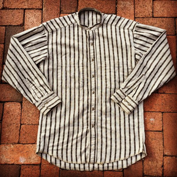 SOLD HOMESPUN VINTAGE WESTERN BANDED COLLAR SHIRT