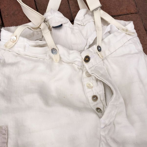 SOLD VINTAGE RALPH LAUREN 100% LINEN IVORY BACKBUCKLE SUSPENDERS BORO SHASHIKO PANTS WITH 100 YEAR OLD BUTTONS #2