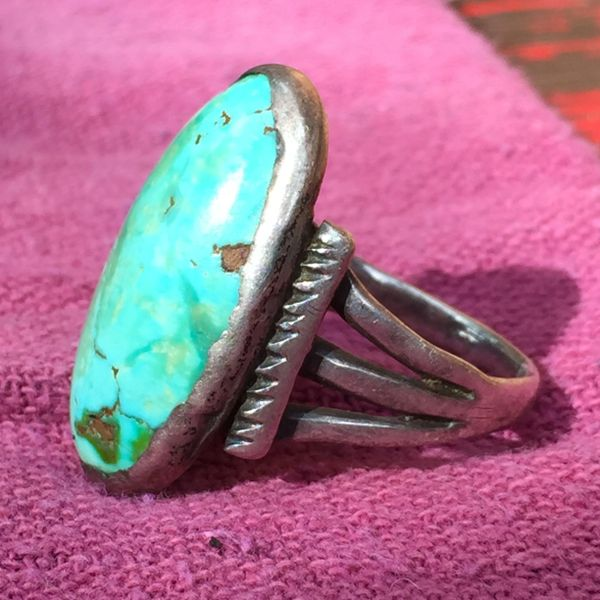 SOLD 1890s INGOT SILVER HUGE TURQUOISE RING