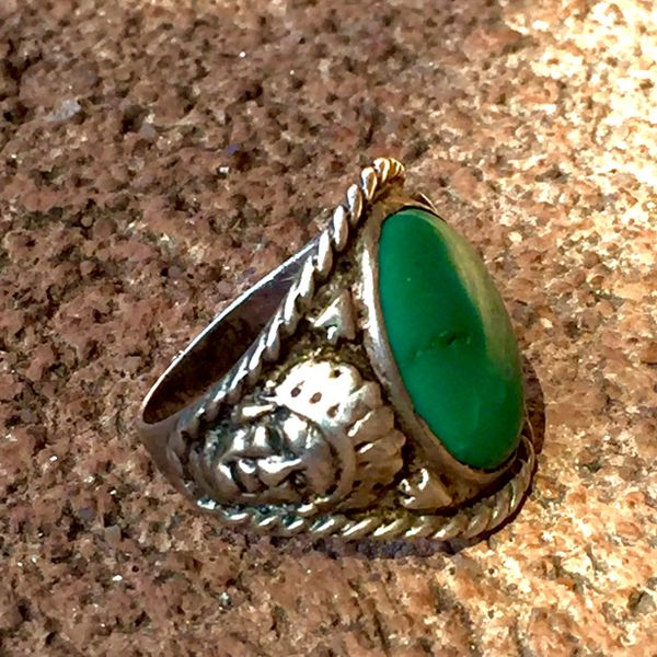 1920s SOLD SILVER ARROW & INDIAN CHIEF HEAD & TURQUOISE MENS RING